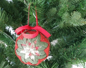 Red and Green Quilted Christmas Ornament - Gift Idea Uner 15 - Keepsake Ornament - Quilted Christmas Decoration - Tree Ornament - Handmade