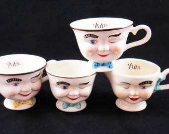 """Vintage BAILEY'S """"YUM CUPS"""" Coffee Set of 4 Gift Pack / Includes Sugar & Creamer w 2 Cups / His and Hers Faces / 1986 / Housewarming Gift"""