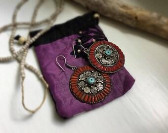 Sterling Silver and Coral Earrings Tribal Earrings Boho Earrings