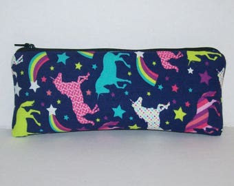 """Pipe Pouch, Unicorn Star Rainbow, Pipe Case, Pipe Bag, Glass Pipes, Padded Pipe Pouch, Zipper Bag, Vape Pens, Smoke Accessory - 7.5"""" LARGE"""