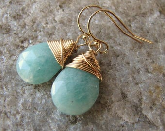 Blue Amazonite Earrings 14 k gold filled ear wires wire wrapped genuine gemstone jewelry faceted teardrops