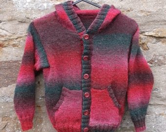 "Hand knitted  boys hoodie / hooded button through jumper or cardigan. 28"" chest. Multi colored"