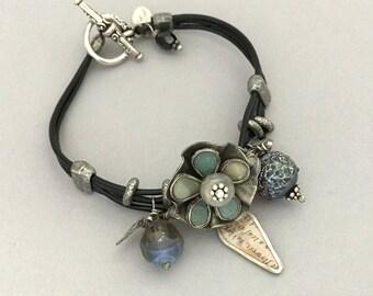 Bohemian Leather Bracelet - Boho Leather Jewelry Bracelet - Black Leather Flower Bracelet - Blue Bracelet - Unique Gift Ideas