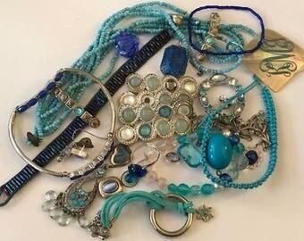 Blue Jewelry Lot | Junk Jewelry Lot | Blue Rhinestone Jewelry| Blue Seed Bead Jewelry | Vintage Jewelry Lot | Jewelry Parts | Blue Bracelet