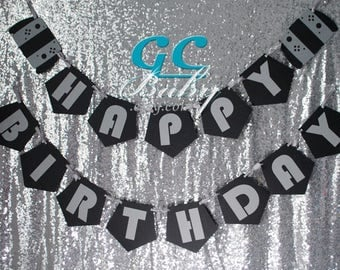 CUSTOM Nintendo style Video Game Birthday Banner - ANY color combination - Party Decoration, Bunting, Happy Birthday