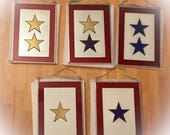 """Hand painted Gold, Blue, Blue and Gold, Gold and Gold, Blue and Blue... Service Flag Sun catcher 10"""" length 7"""" width"""