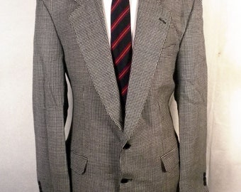 euc Peter Barton for Bigsby & Kruthers Gray Diamond Pattern Wool Sportcoat 42 L