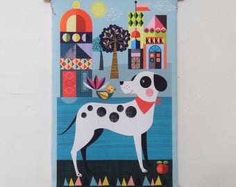 Pablo the spotty dog, fabric, wall hanging, Ellen Giggenbach