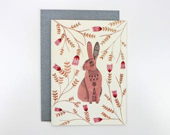 A6 Card - Hare and Tulips