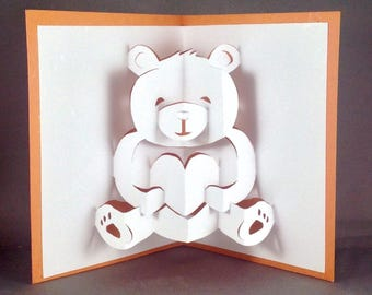 teddy bear pop up card template free - teddy bear card etsy