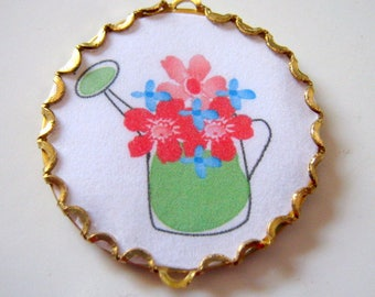 Vintage Picture Watering Can with Flowers Cabochon Needle Minder, Cross Stitch, Embroidery, Needlepoint