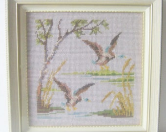 Duck by the Pond Picture-Mallard Picture-Needlepoint-Framed Shabby Picture-Wood Frame with Glass-30x30cm