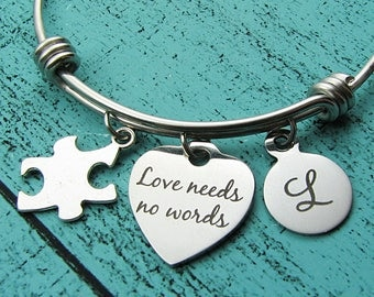 autism mom bracelet, autism awareness, love needs no words, special education teacher, special ed, therapist gift, occupational therapy gift