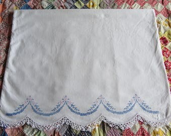 Vintage Embroidered Pillowcase White Cotton Blue Floral Cross Stitch Embroidery