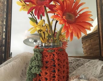 Pumpkin Pint Size Canning Jar Cozy Cover Perfect for Fall
