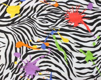 Zebra Splatter Springs Creative Products Flannel Fleece Fabric . 2010 fabric out of print. Cotton Soft Children's Kids Material