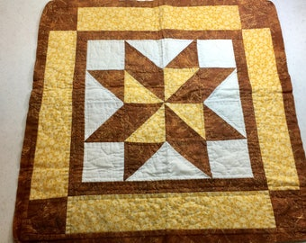 Star Table Topper, Square Table Decoration, Handmade Home Decor, Quilted Brown and Yellow Star, Hand Quilted 20.5 Inches One of a Kind