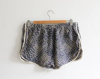 vic & lily Salvaged Grey Printed Silk Runner Shorts