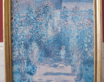 "Claude Monet textured print in gold wood frame 25"" x 31.5"" The Artist's Garden At Verthueil 1881"