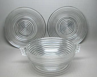 Anchor Hocking Manhattan set of three pieces , one large bowl two salad / luncheon plates