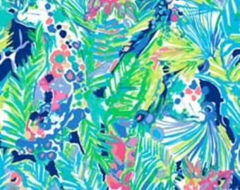 Cotton dobby fabric squares and pieces 6 X 6, 9 X 18 or 18 X 18 inches Purrfect / pieces ~Lilly Pulitzer~