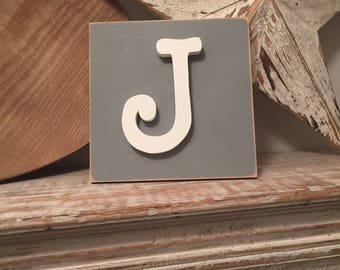 Wooden Letter Blocks, 3D letter, Signs, Letter J, 15cm square, all letters available, rustic finish