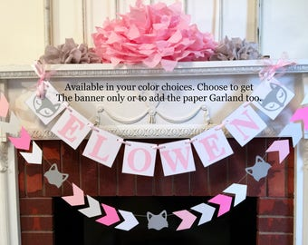 Gray Woodland fox Baby shower decoration - Fox 1st birthday garland  - Pink and Gray Fox baby shower decor - your color choices