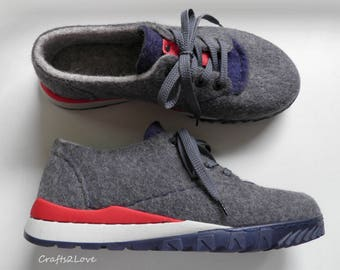 Felted wool sneakers, Outdoor wet felted shoes with winter soles, Men eco fashion felt boots for him, RTS US men 11.5  27.9cm EU 45