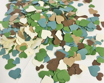 Adorable Heart Confetti in Brown Blue Green Cream over 1000 hearts Wedding Decor Table Decorations Tiny Heart Confetti