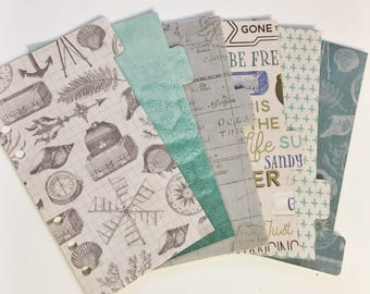 Personal Sized Laminated Dividers For Filofax Medium Kikki-k Planner Blue Teal Green Beige Grey Sea Travel Water Compass Floral Ships