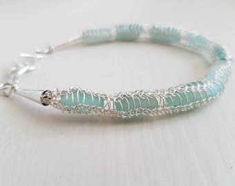 Bracelet Genuine Soft Aqua Glass and Silver Knitted Wire