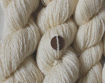 Undyed cream handspun yarn, wool/silk/mohair