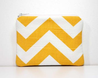 Yellow and White Chevron Zipper Coin Purse - Small Wallet - Little Zipper Pouch - Little Pouch - Small Gadget Case