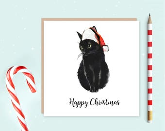 Black Cat Christmas Cards Pack of 10, cat Christmas cards, ideal for Christmas, black cat, cat lover, ideal gift for cat lovers