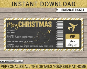 Christmas Plane Ticket Gift - Printable Boarding Pass - Surprise Trip or Flight - Chalkboard Gold Glitter - INSTANT DOWNLOAD - EDITABLE text