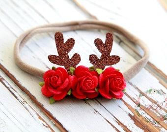 Baby Christmas Headband - Christmas Flower Headband - Baby Flower Headband -  Baby Antlers Headband - Nylon Headband