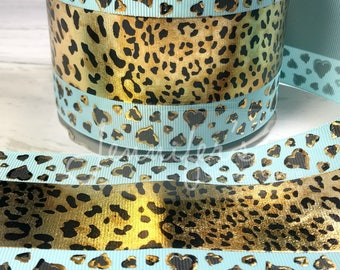 "3"" Cheetah Ribbon, Foil Ribbon, Cheetah Hearts, Ocean Blue Ribbon, US Designer Ribbon, Cheer Ribbon, Cheer Bows, Price Per Yard"