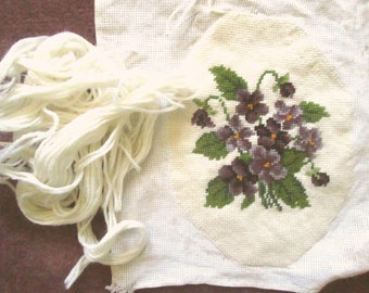 Needlepoint with Violets