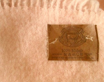 Pink Mohair Throw, Lap Blanket Made in Italy