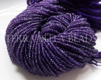 """12.5"""" strand purple AMETHYST faceted gem stone rondelle beads 3mm"""