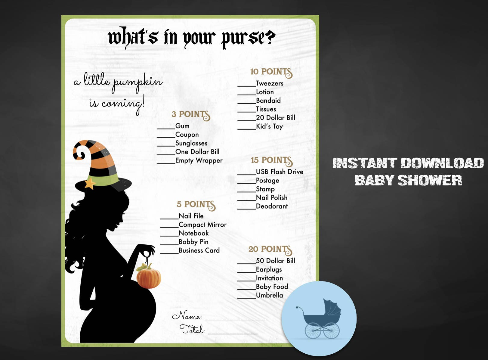What s in your purse Baby Shower Game Instant