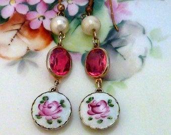 ENAMEL ROSE vintage antique assemblage floral earrings