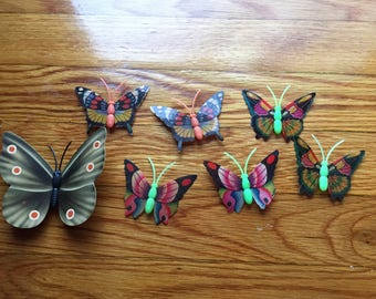 Vintage Butterfly Magnets- Set of 7