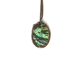 Sunset Moth Green Copper Butterfly Necklace Steampunk Glass