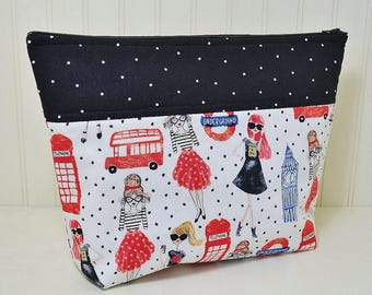 London Fashion Theme Cosmetic Bag, Big Ben Makeup Bag, Large Stand up Toiletries Zipper Pouch, Black Red Craft Project Bag, Blue Polka Dots