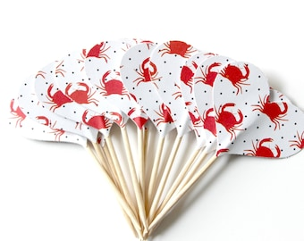 Crab Food Picks, Sea Life Toppers, Nautical Party, Under the Sea, Set of 12