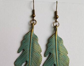 Beautiful Patina leaf earrings
