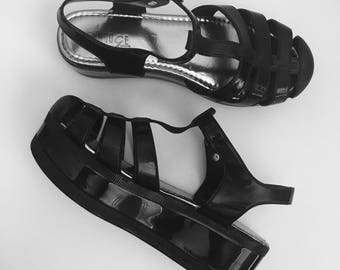 90s Black Platform Jelly Sandals / chunky Shoes / Summer Shoes / Black Mary Jane / Ankle Strap Heeled Sandals / Size 7 - 38