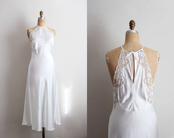 Vintage 70's Nightgown White Slip Dress / Full Slip / Wedding Slip / Lace lingerie/ White Slip / Bridal / Size M/L