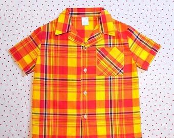 50%DISCOUNT 90s children vintage multicolor plaid short sleeved shirt 6/8 yrs
